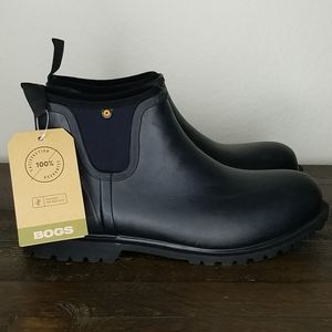 BNWT Bogs Carson Chelsea Black Rain Boots Size 10